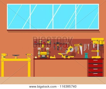 View of the interior of the workplace carpenter in a workshop. Woodworking and carpentry, constructi