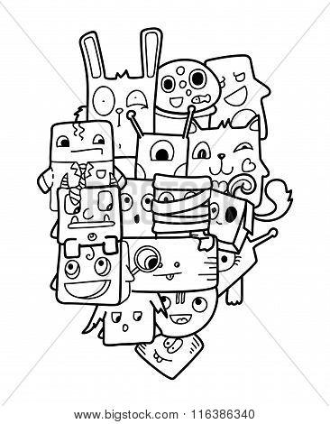 Funny doodle vector illustration