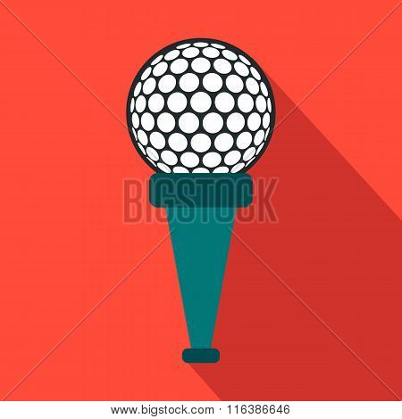 Golf ball on a tee flat icon
