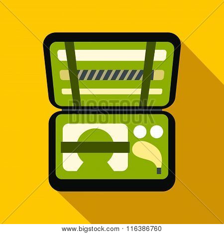 Golf set in suitcase flat icon