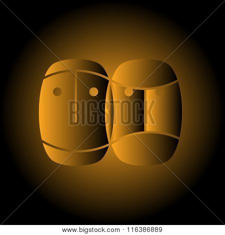 Theatrical golden mask vector illustration