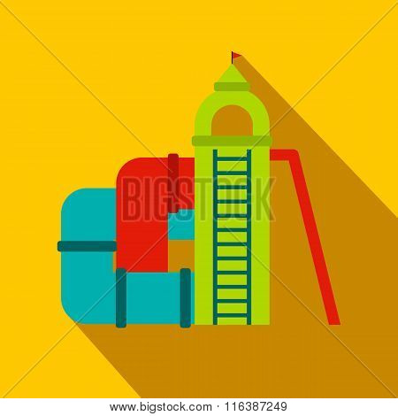 Colorful slide with a roof flat icon