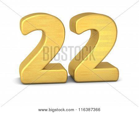3D Number 22 Gold