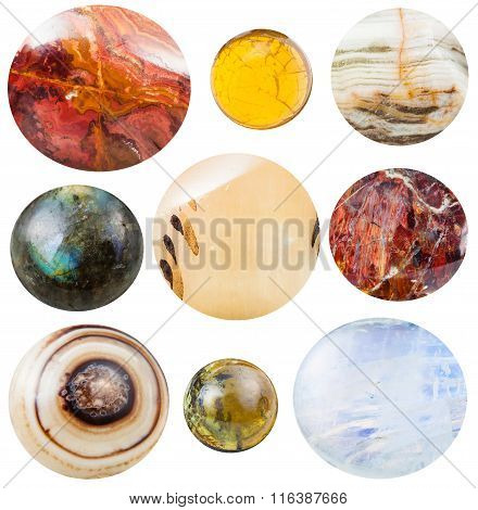 Various Round Cabochon Gem Stones Isolated
