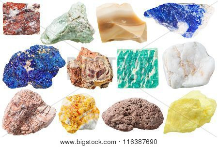 Set Of Different Mineral Rocks And Stones