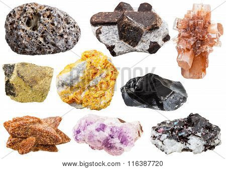 Collection Of Various Mineral Crystals And Stones