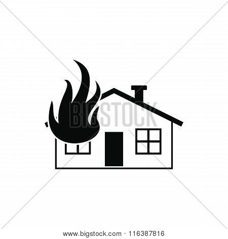 House on fire black simple icon