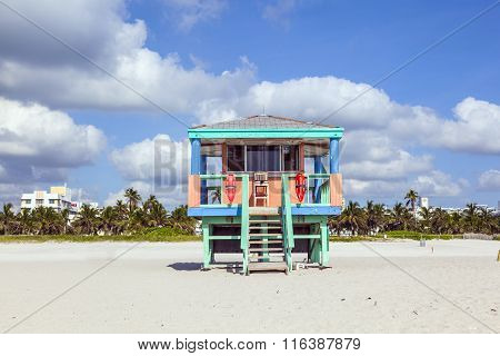 Beach Huts At The White Beach In South Beach, Miami