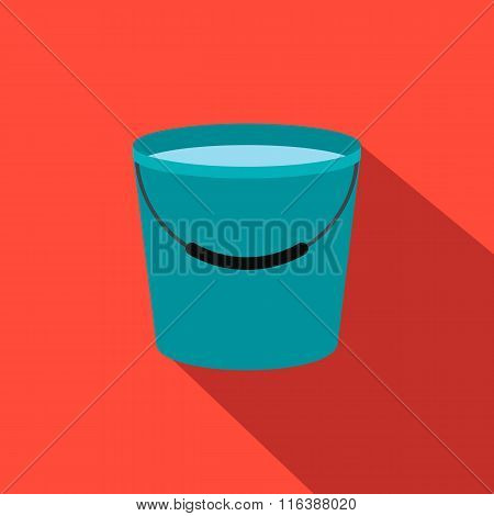 Bucket full of water flat icon