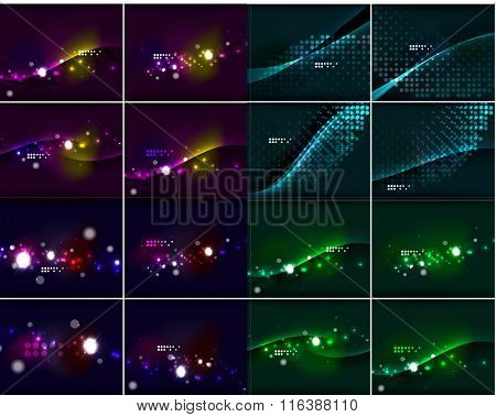 Set of glowing lines in dark space with sparkling, lens flares and glittering