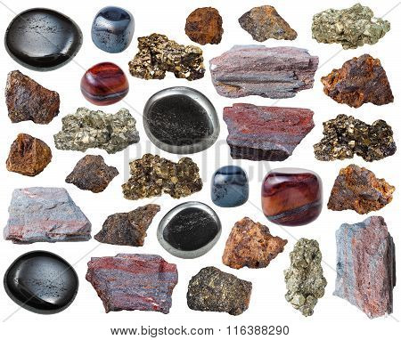 Various Iron Ore Stones And Rocks Isolated