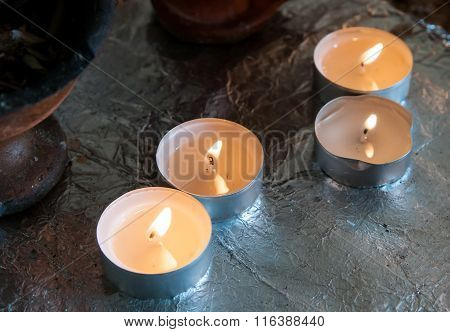 Church Candle Buring In Oil