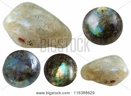 Various Tumbled And Cabochon Labradorite Gemstones