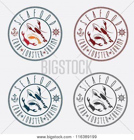 Illustration Set Of Seafood Labels In Retro Style