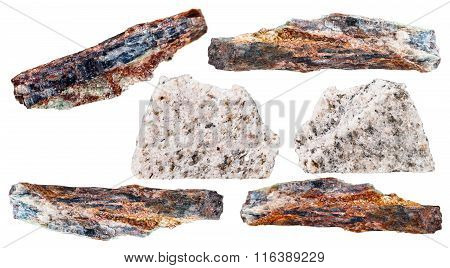 Various Schist Mineral Stones Isolated On White