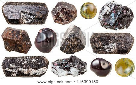 Various Tourmaline Gem Stones Isolated
