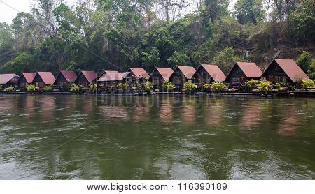 Floating hotel houses on the River Kwai