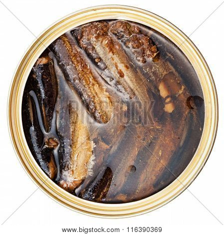Canned Smoked Sprats Fish In Oil Isolated