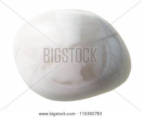 Tumbled Magnesite Gem Stone Isolated On White