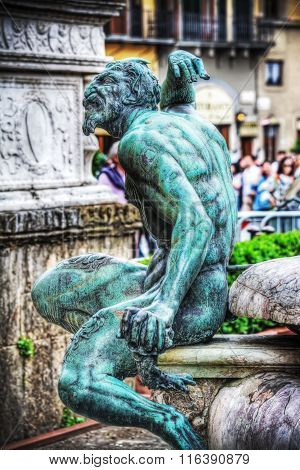 Satyr Bronze Statue In Neptune Fountain In Florence