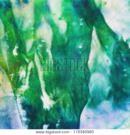 Abstract Hand Painted Green And Blue Nodosa Batik