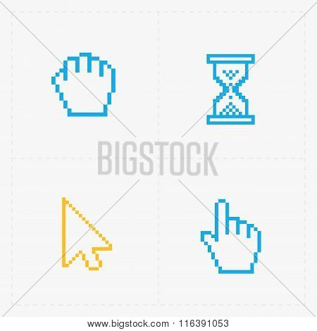 Pixel colorful cursors icons on white.Vector Illustration.