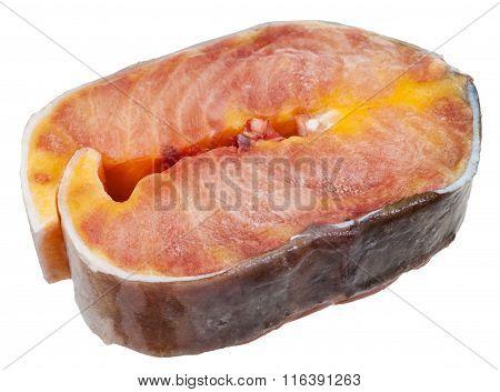 Raw Frozen Steak Of Sturgeon Isolated On White