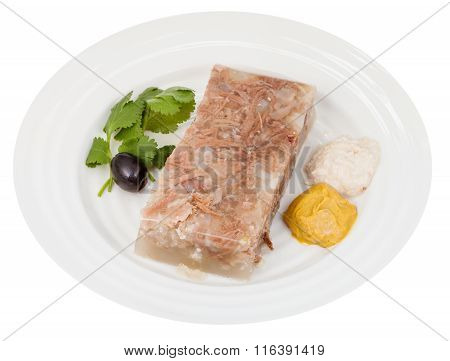 Portion Of Beef Aspic With Seasonings On Plate