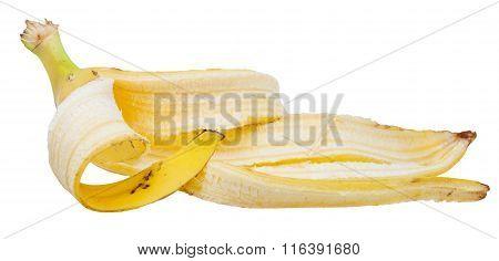 Side View Of Yellow Banana Peel Isolated