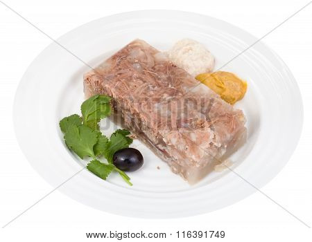 Piece Of Beef Jelly With Seasonings On White Plate