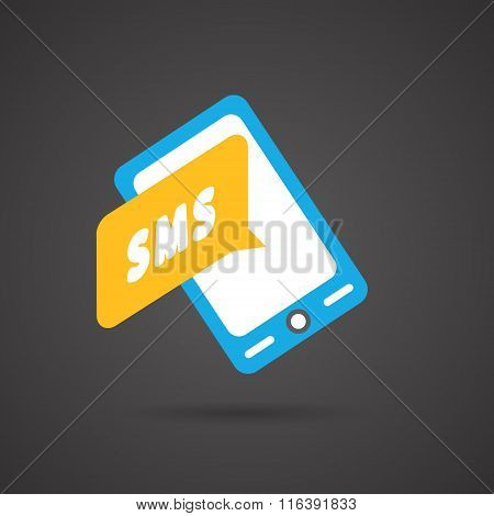 Colorful flat smartphone icon on Dark Background