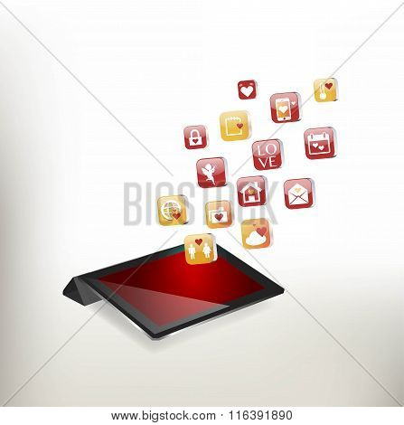 Valentine's Day Concept. Tablet PC
