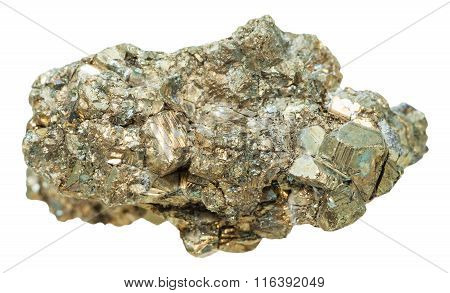 Druse Of Pyrite Mineral Stone Isolated On White