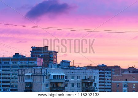 Blue And Pink Sunset Sky Over Residential Quarter