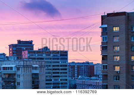 Blue And Pink Sunset Sky Over City In Winter