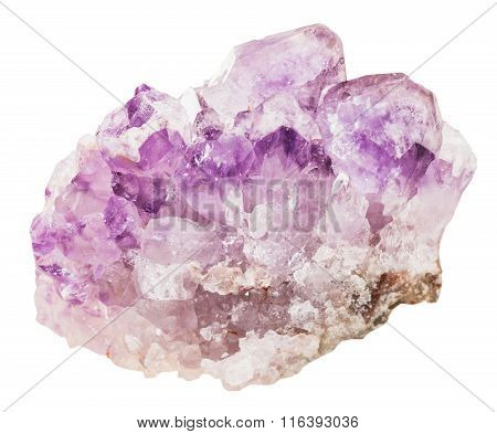 Crystals Of Amethyst Mineral Gemstone Isolated