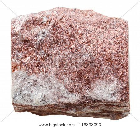 Red Aventurine Mineral Stone Isolated On White