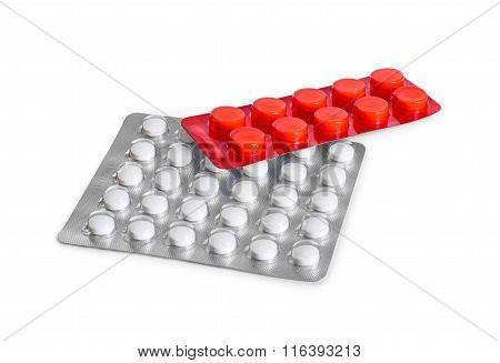 Two Blister Pack Of Pills Isolated On White Background
