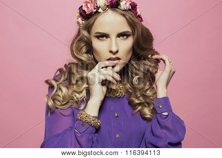 Woman With Long Curly Blond Hair With Luxurious Flowers Headband