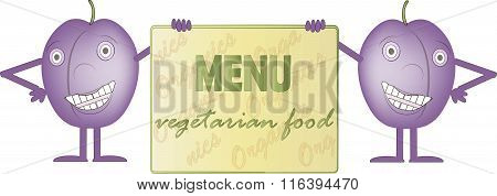 Two smiling purple plums, bord with inscription Menus, Vegetarian foo