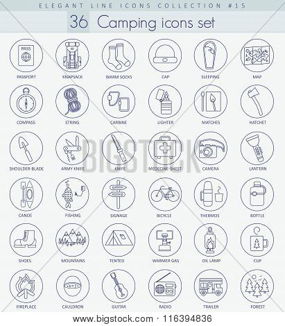 Vector camping outline icon set. Elegant thin line style design