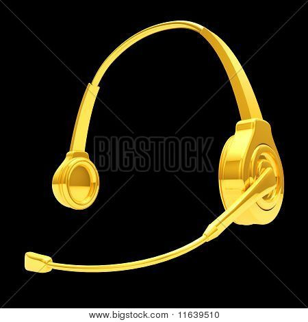 3D Headphone In Gold