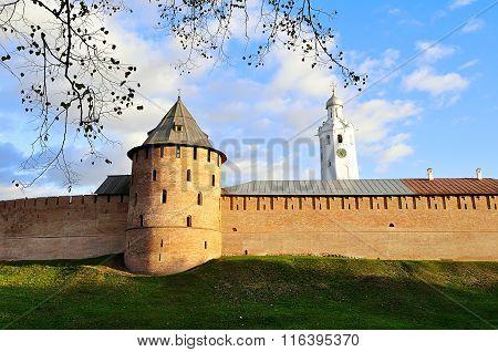 Novgorod Kremlin Walls In Sunny Autumn In Veliky Novgorod, Russia