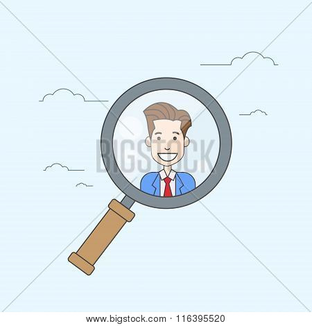 Magnifying Zoom Glass Business Person Portrait Candidate Concept Recruitment