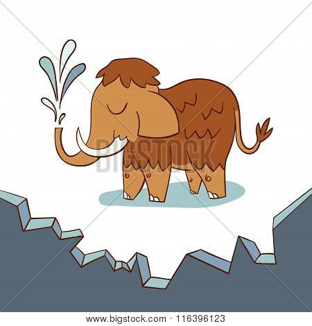 Cute baby mammoth on a drifting ice floe. Vector illustration