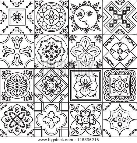 Adult Coloring Talavera Seamless Pattern.