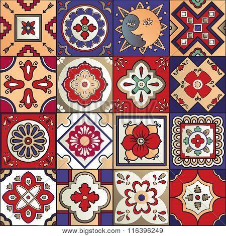Talavera Mexican Tiles Seamless Pattern