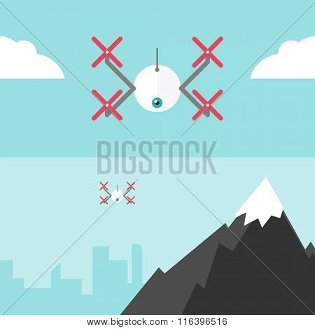 Remote aerial drone with a camera taking photography or video recording . Vector art on isolated background. Flat design. Drone flying over the city and the mountains