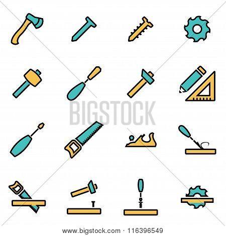Vector Line Carpentry Icon Set