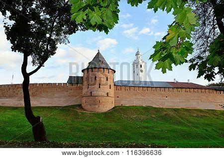 Novgorod Kremlin Walls In Autumn Evening In Veliky Novgorod, Russia